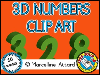 3D NUMBERS CLIPART: GREEN SOLID SHAPES CLIPART NUMBERS: MATH CLIPART
