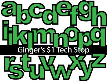 GREEN! * Bulletin Board Letters *  Lower Case * Alphabet