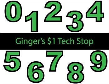 GREEN! * Bulletin Board Letters * Numbers * 0123456789