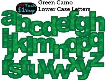 GREEN CAMO * Lower Case Letters * Bulletin Board * Memoria
