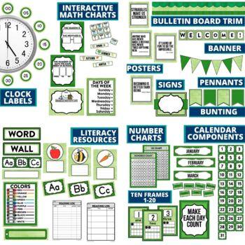 GREEN CHEVRON Classroom Decor EDITABLE