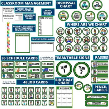 GREEN Classroom Decor CHEVRON, EDITABLE