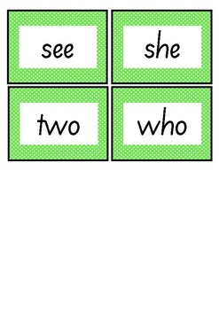 GREEN LEVEL FLASH CARDS - FREEBIE - FIRST 100 WORDS