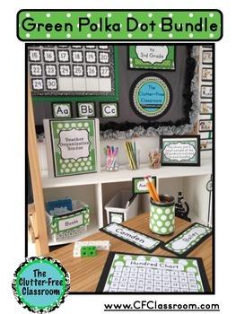 GREEN POLKA DOTS Classroom Decor - EDITABLE Clutter-Free Classroom Decor BUNDLE