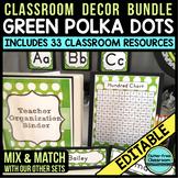 GREEN Classroom Decor POLKA DOTS, EDITABLE