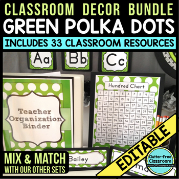 GREEN POLKA DOTS Classroom Decor - EDITABLE Clutter-Free C