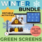 GREEN SCREEN Winter Bundle/NO PRINT Distance Learning