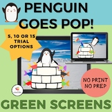 GREEN SCREEN Penguin Goes Pop Game for Distance Learning/O