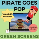 GREEN SCREEN Pirate Goes Pop Game for Distance Learning/Op