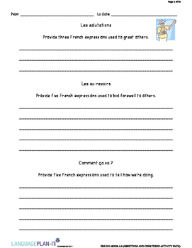 GREETINGS AND COURTESIES ACTIVITY PACK (FRENCH)