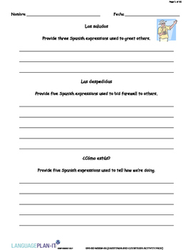 GREETINGS AND COURTESIES ACTIVITY PACK (ITALIAN)