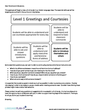GREETINGS AND COURTESIES UNIT COMMUNICATION (ARABIC)