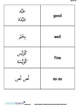 GREETINGS AND COURTESIES VOCABULARY LIST WITH FLASHCARDS (ARABIC)
