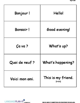 GREETINGS AND COURTESIES VOCABULARY LIST WITH FLASHCARDS (FRENCH)