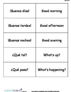 GREETINGS AND COURTESIES VOCABULARY LIST WITH FLASHCARDS (SPANISH)