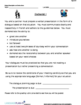 GREETINGS DIALOGUE ASSESSMENT (FRENCH)
