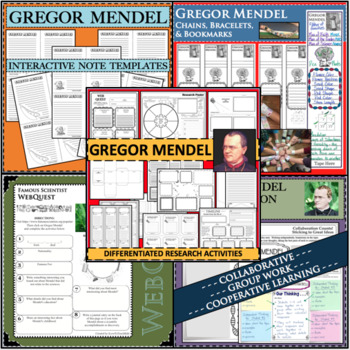 GREGOR MENDEL BUNDLE Science Scientist Research Project Biography Notes