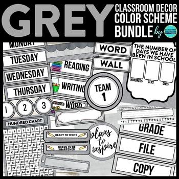 GREY CHEVRON Classroom Decor - EDITABLE Clutter-Free Classroom Decor BUNDLE