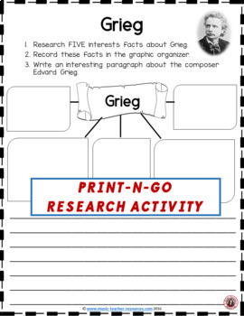 Music Composer: GRIEG Music Composer Study and Worksheets