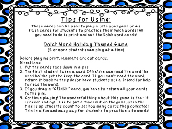 GRINCH! Grade 1 Dolch Word Game