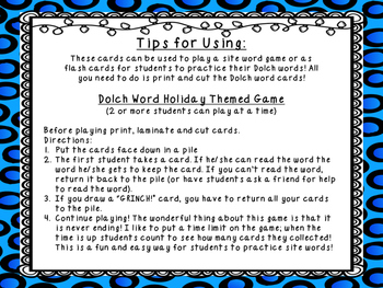 GRINCH! Grade 3 Dolch Word Game