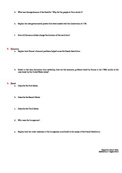 GRIPES Assignment - French Revolution