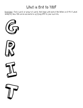 GRIT Acrostic - Character Ed
