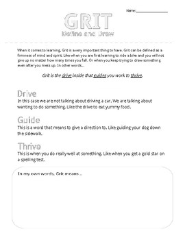 GRIT - Define and Draw Activity