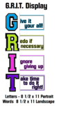GRIT Growth Mindset Display with Matching Poster and Desk Reminders