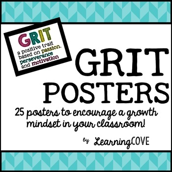 GRIT - Growth Mindset Poster Pack!  25 Posters!