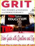 GRIT Ted Talk Video Guide with KEY for ALL Subjects Growth Mindset
