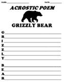 GRIZZLY BEAR Acrostic Poem Worksheet
