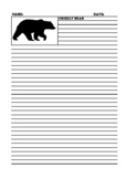 GRIZZLY BEAR Lined Paper