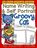 GROOVY CAT Monthly Self Portrait & Handwriting Assessment Recording Sheets