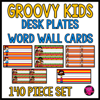 Hippie and Peace Theme Names Plates and Word Wall Cards Bundle