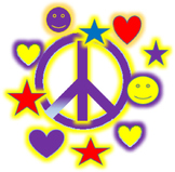 GROOVY PEACE SIGN CLIP ART WITH HEARTS, SMILY FACES, AND STARS