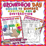 GROUND HOG COLOR BY NUMBER FOR ADDITION AND SUBTRACTION