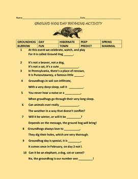 GROUND HOG DAY RHYMING ACTIVITY-GRADES 3-5