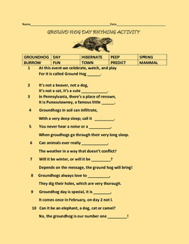 GROUNDHOG DAY RHYMING ACTIVITY-GRADES 3-5