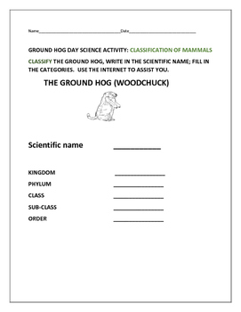GROUND HOG DAY SCIENCE ACTIVITY: CLASSIFICATION OF GROUND HOGS/MAMMALS