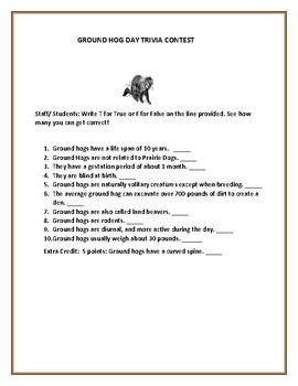 GROUND HOG DAY TRIVIA CONTEST! See how many you can get correct!