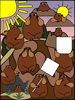 GROUNDHOG CLIP ART * COLOR AND BLACK AND WHITE