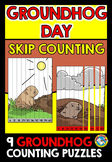(GROUNDHOG DAY MATH ACTIVITY 2ND GRADE) SKIP COUNTING PUZZLES CENTER