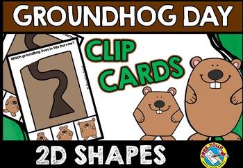 GROUNDHOG DAY SHAPES CLIP CARDS (GROUNDHOG DAY ACTIVITY KINDERGARTEN MATH CENTER