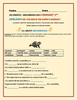 GROUNDHOG DAY : A SCIENCE CONTENT KNOWLEDGE ACTIVITY