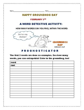 GROUNDHOG DAY: A WORD DETECTIVE ACTIVITY