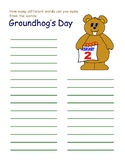GROUNDHOG DAY ACTIVITIES, 5 PAGES, GROUNDHOG DAY NO PREP F
