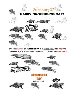 GROUNDHOG DAY COLOR ACTIVITY: CAN YOU FIND THE GROUNDHOGS?