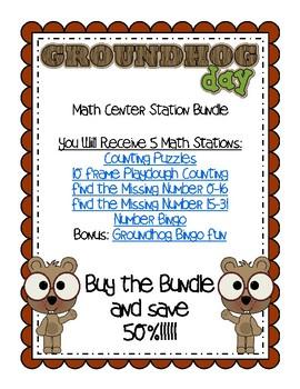 GROUNDHOG DAY MATH CENTER STATION BUNDLE SAVE 50%