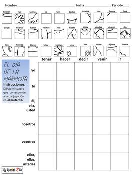 GROUNDHOG DAY: Spanish Irregular Preterite Tense Verbs-Draw on Grid